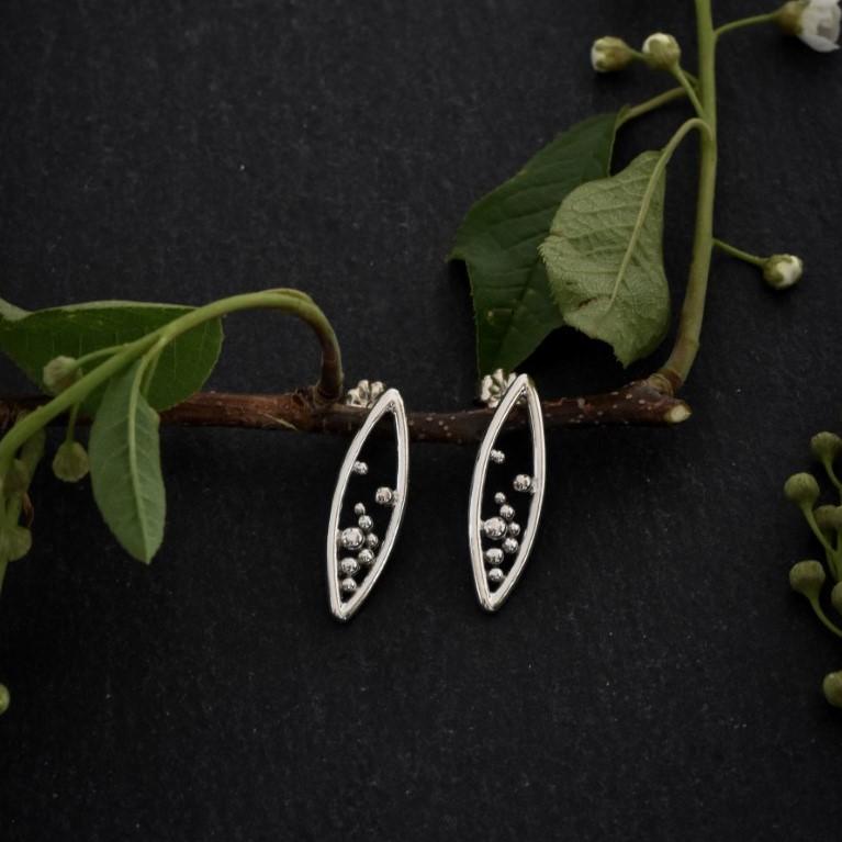 Handmade sterling silver marquee pod stud earrings by Melissa Pedersen