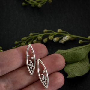 Sterling silver marquee stud earrings