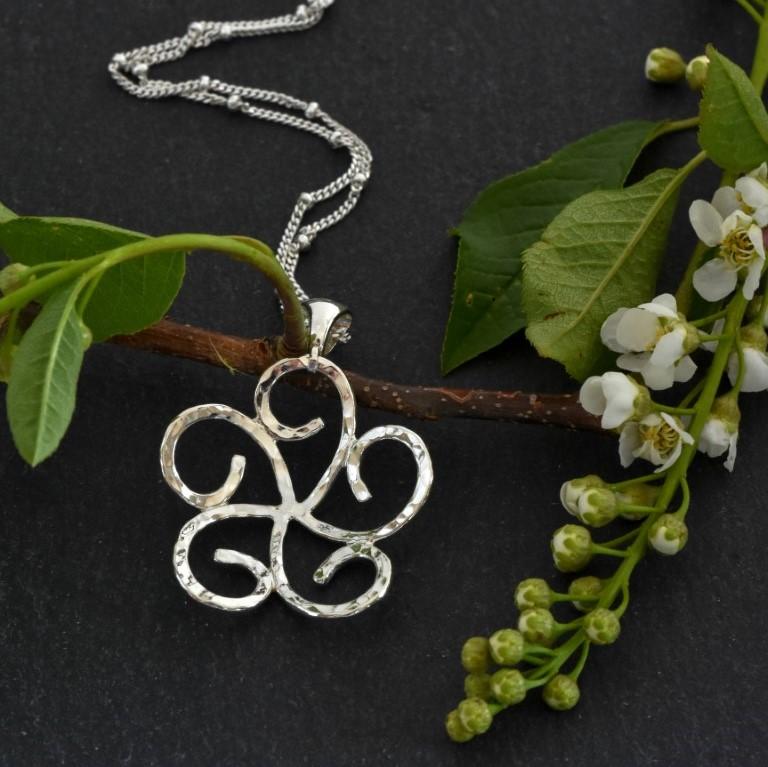 Sterling silver swirl flower pendant by Melissa Pedersen