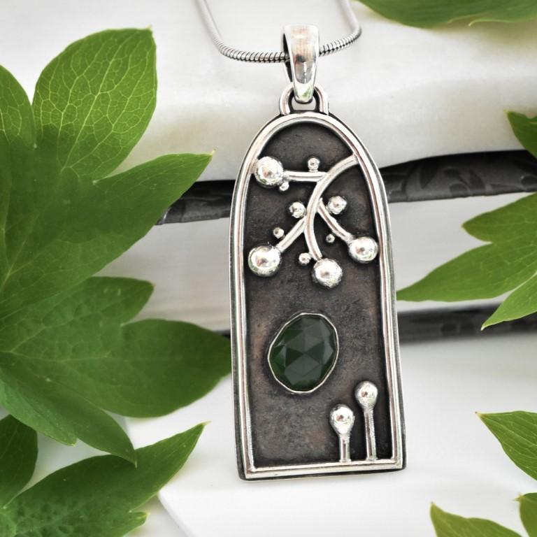 Secret Garden Pendant handmade is sterling silver by Melissa Pedersen