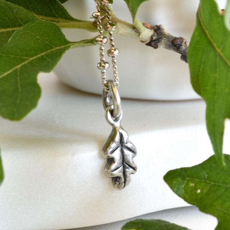 Mini solid sterling silver oak leaf pendant by Melissa Pedersen