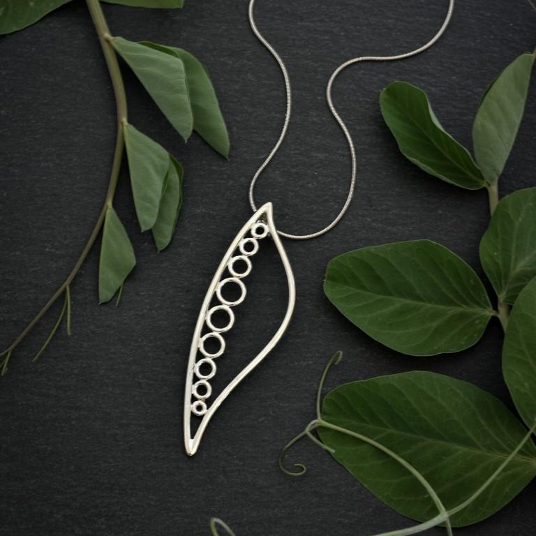Sterling silver pea pod pendant by Canadian jewellery artist Melissa Pedersen