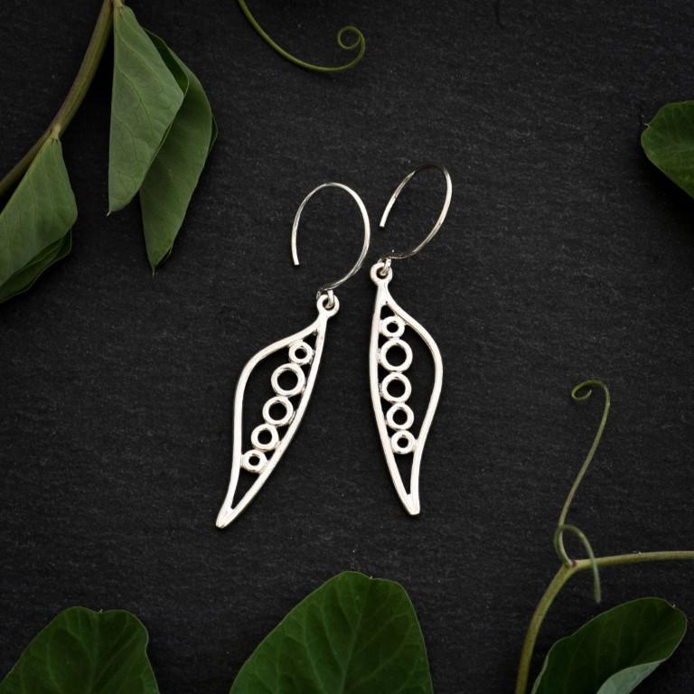 Sterling silver Pea Pod earrings by Melissa Pedersen