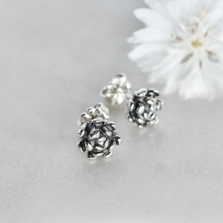 Sterling silver Carnation Studs by Canadian jewellery artist Melissa Pedersen