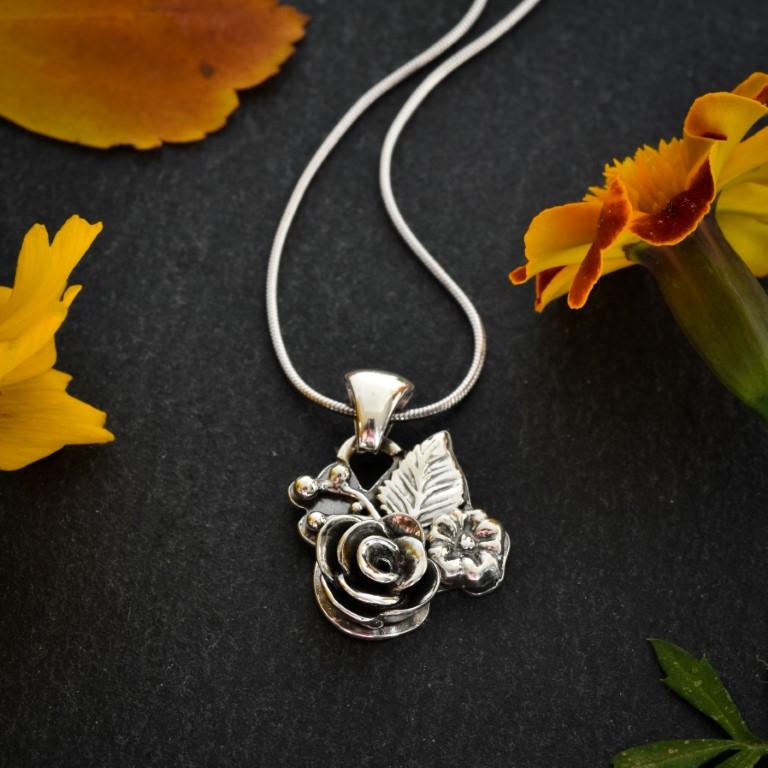 Wildflower sterling silver pendant by Melissa Pedersen