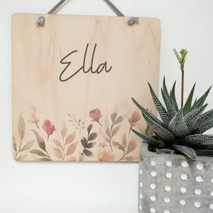 The Ella Style Personalized Name Sign With Pink Flower Garden, gift tag, tree ornament, wall banner