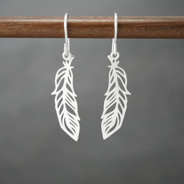 Feather Earrings by Argent Whimsy Jewellery