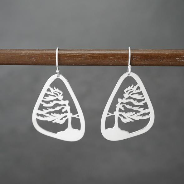 Windswept Pine tree Earrings by Argent Whimsy Jewellery