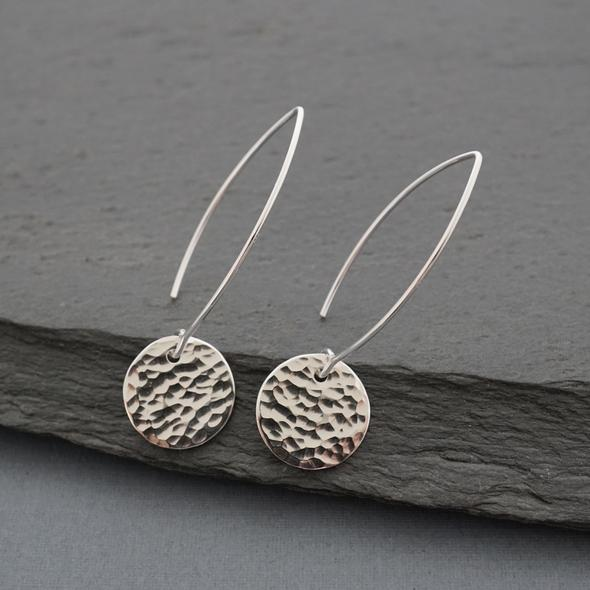 Hammered Disc Earrings by Argent Whimsy Jewellery