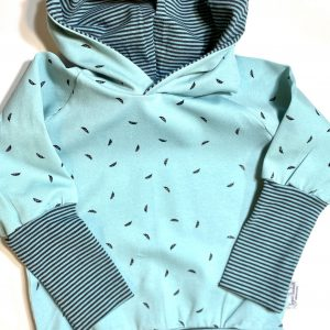 teal hoodie with striped cuff hooded sweater grow along babywear adjustable fit for infants and children