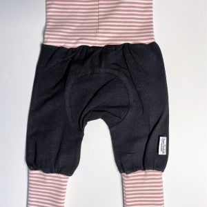 black with pink striped cuffs organic cotton adjustable fit grow along babywear pants for infants and children