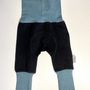 black pants with teal striped cuffs adjustable fit grow along babywear