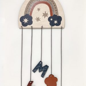 Woodland rainbow mobile with child's initial