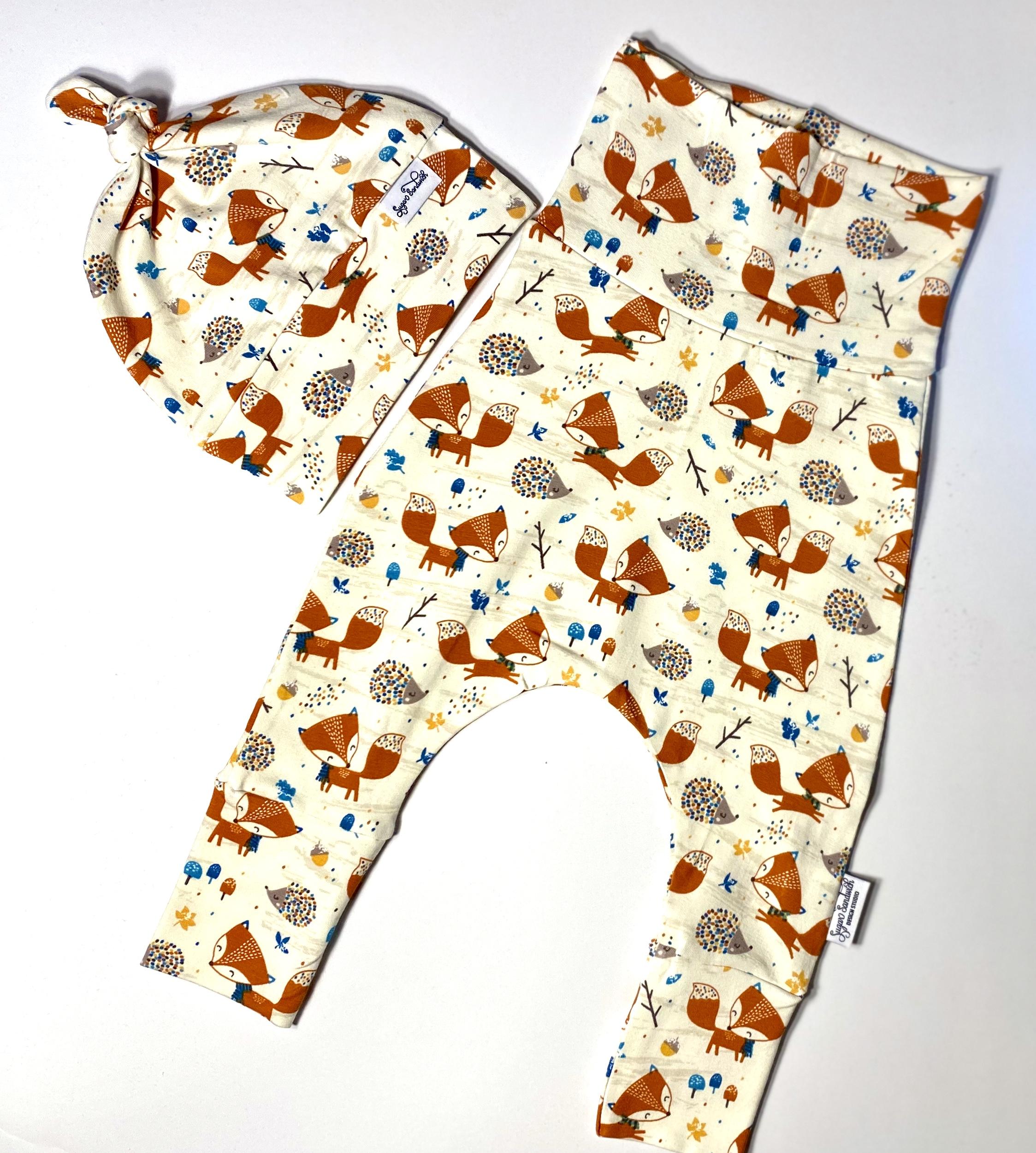 baby fox organic cotton harem pants and matching topknot hat grow along babywear gift set