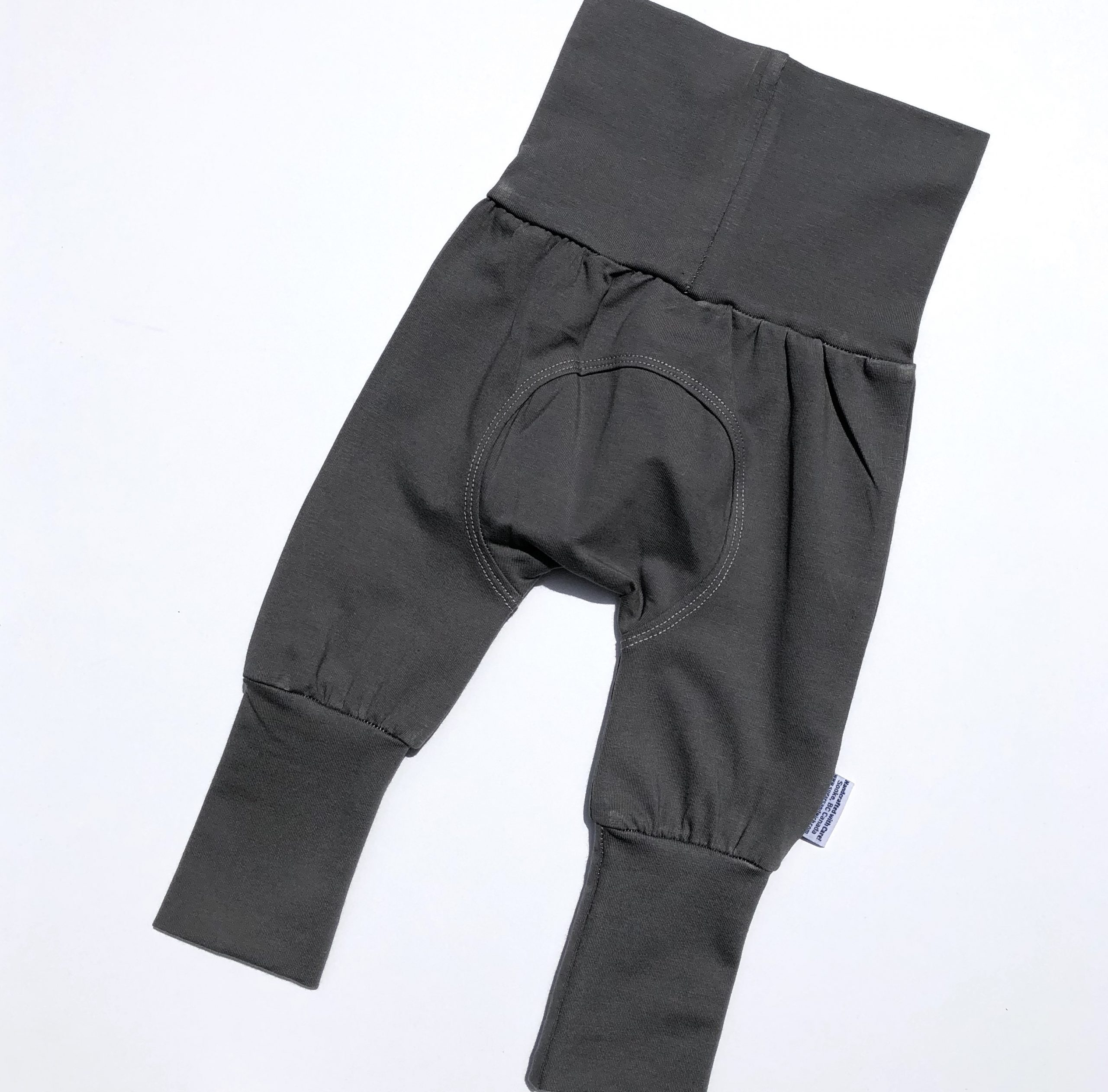 solid gray organic cotton adjustable fit grow along babywear pants for infants and children