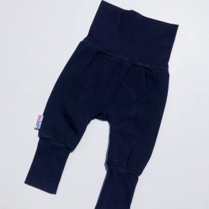 solid black organic cotton adjustable fit grow along babywear pants for babies and children