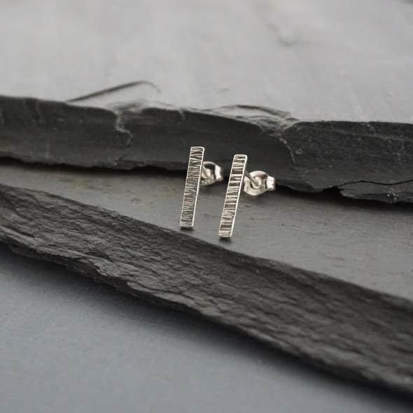 Line Hammered Bar Studs By Argent Whimsy Jewellery