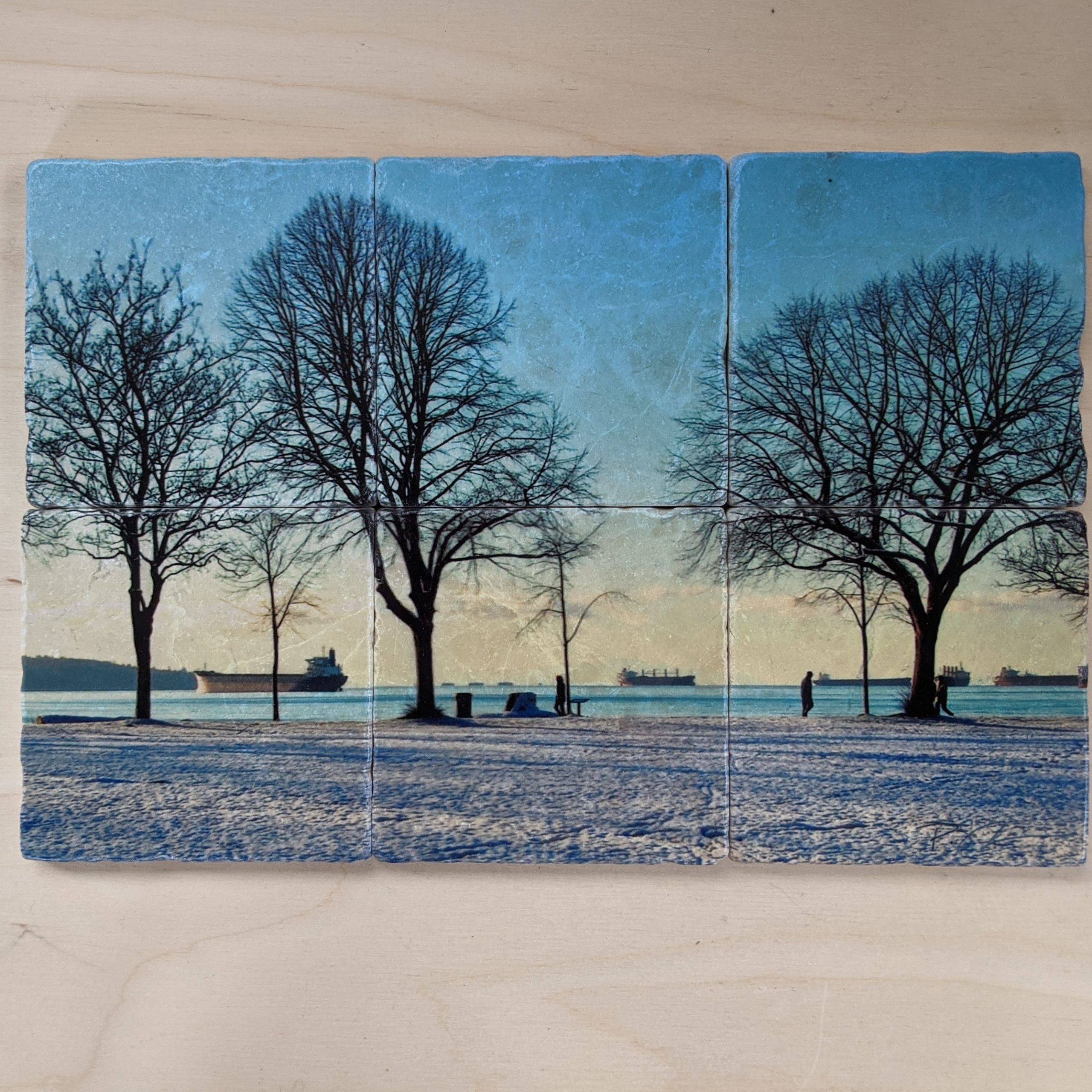 """""""Second Beach"""" Set of 6 - Marble Art Coasters"""