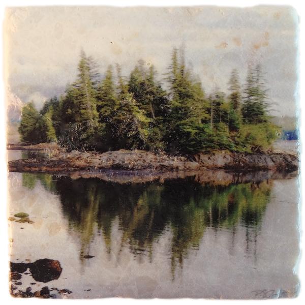 Marble Art Coaster - Island Reflections