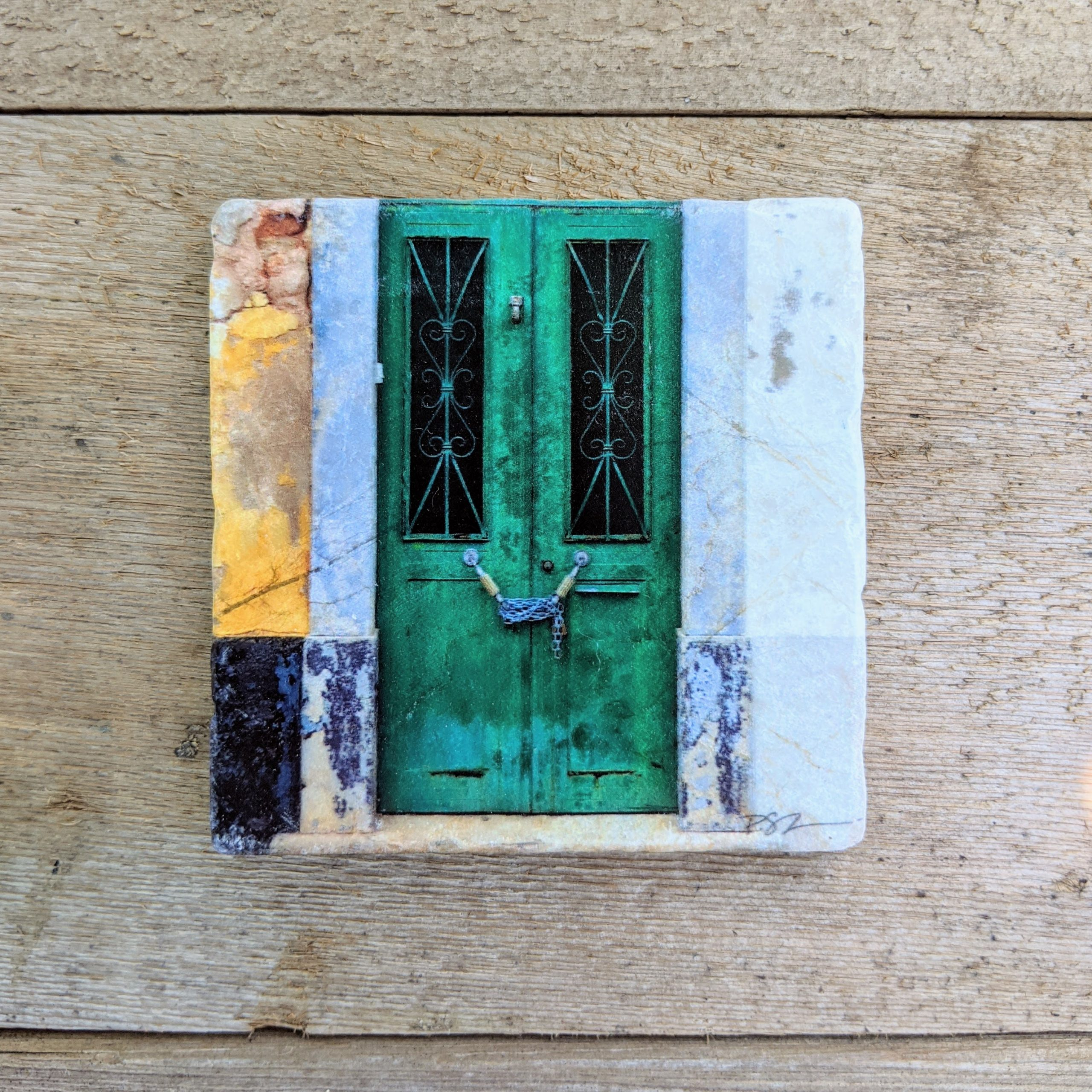 Marble Art Coaster - Portugal Door Grn