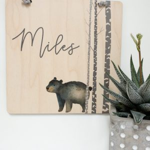 The Miles Style Personalized Name Sign With Bear, wall banner