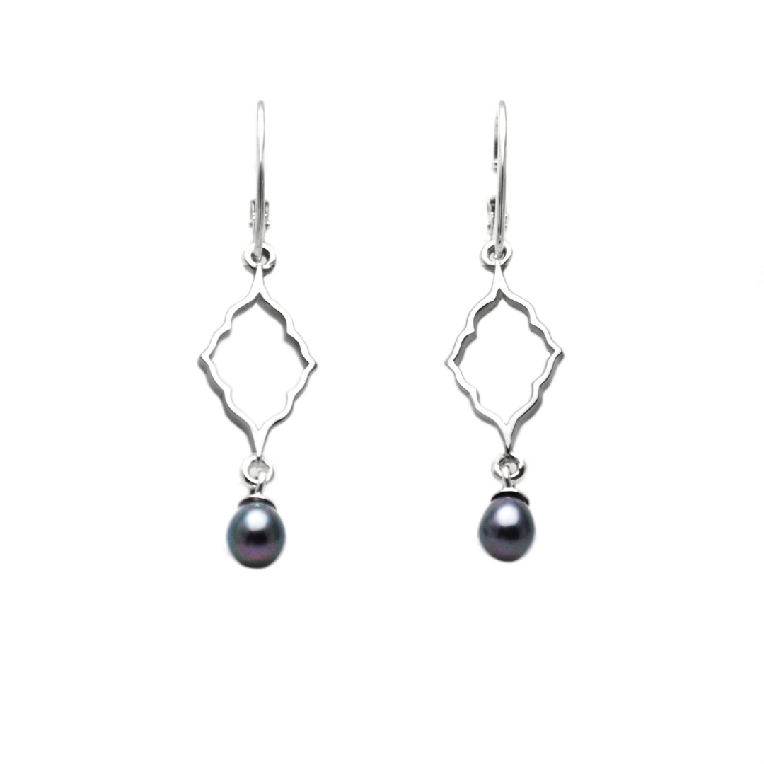 Sterling Silver Moroccan Silhouette Earrings with peacock freshwater pearls
