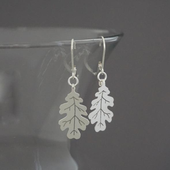 Oak Leaf earrings in Sterling silver by Argent Whimsy Jewellery