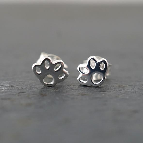 Paw print Studs by Argent Whimsy Jewellery