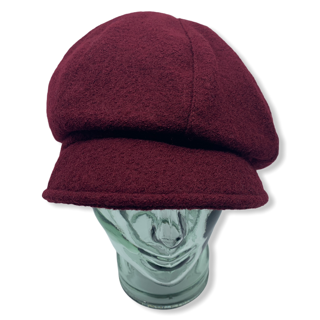 Newsboy cap | bourgundy |Boiled wool | Hats | Made in canada | Genevieve Dostaler