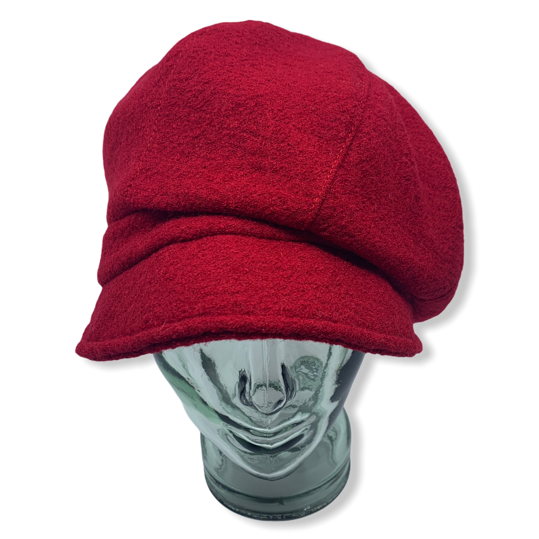 Newsboy cap   Red  Boiled wool   Hats   Made in canada   Genevieve Dostaler