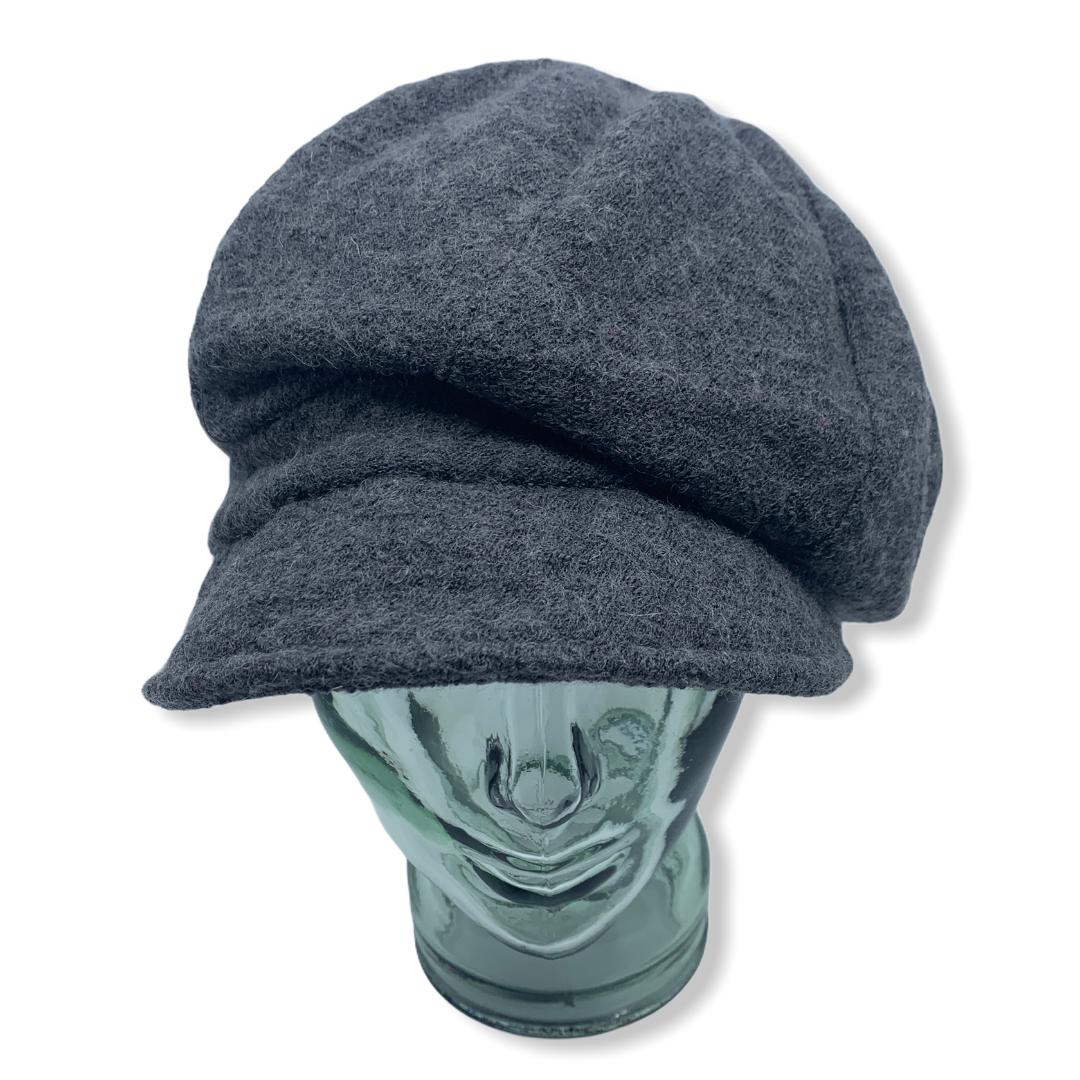 Newsboy cap   grey   Boiled wool   Hats   Made in canada   Genevieve Dostaler