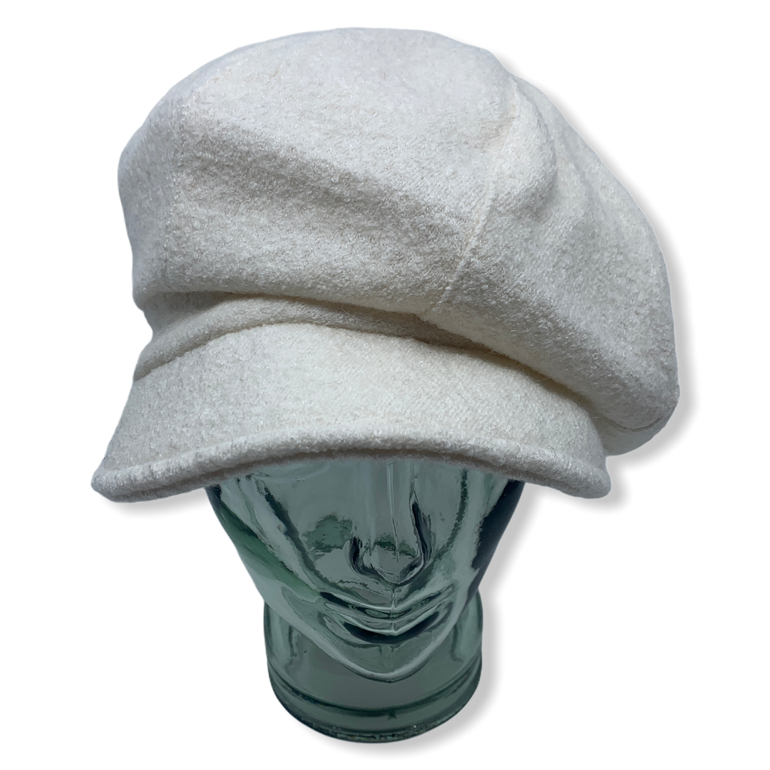 Newsboy cap | white |Boiled wool | Hats | Made in canada | Genevieve Dostaler