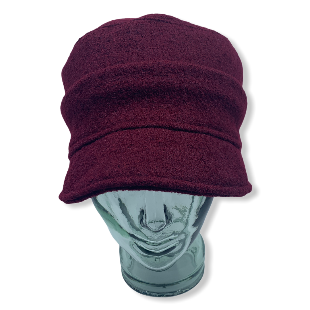 Cap | Burgundy | Boiled wool | Hats | Made in canada | Genevieve Dostaler