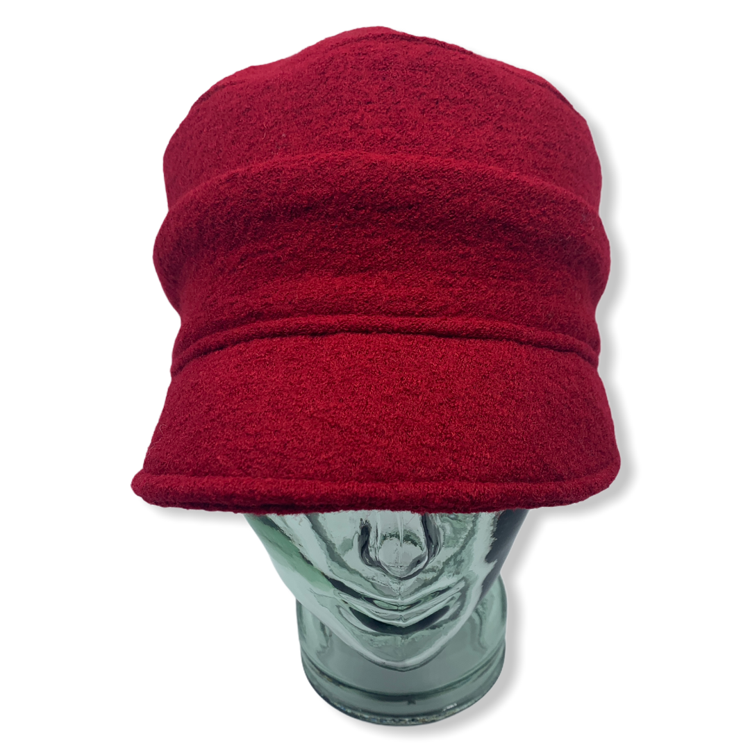 Cap   Red   Boiled wool   Hats   Made in canada   Genevieve Dostaler