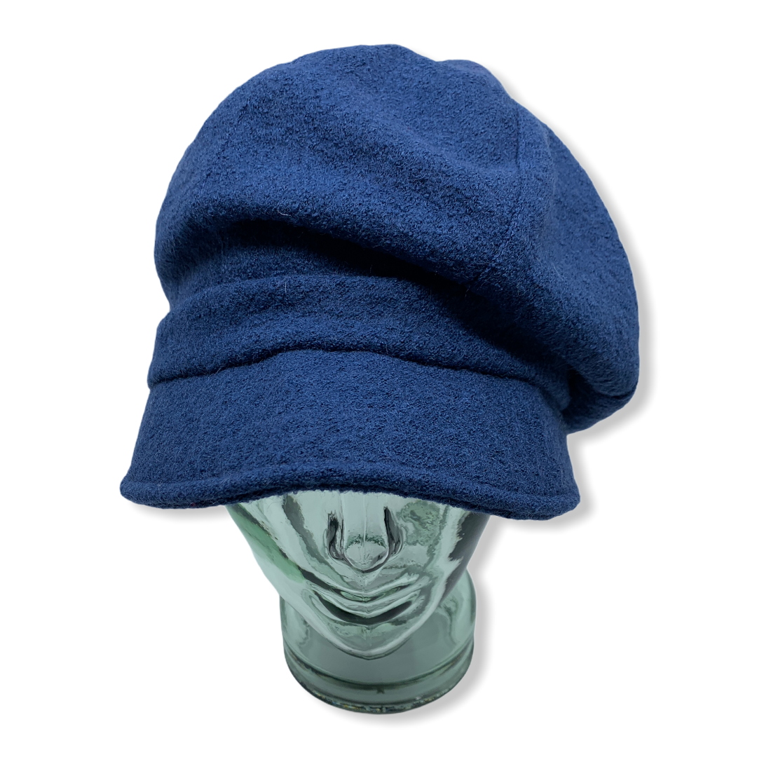 Newsboy cap | blue |Boiled wool | Hats | Made in canada | Genevieve Dostaler