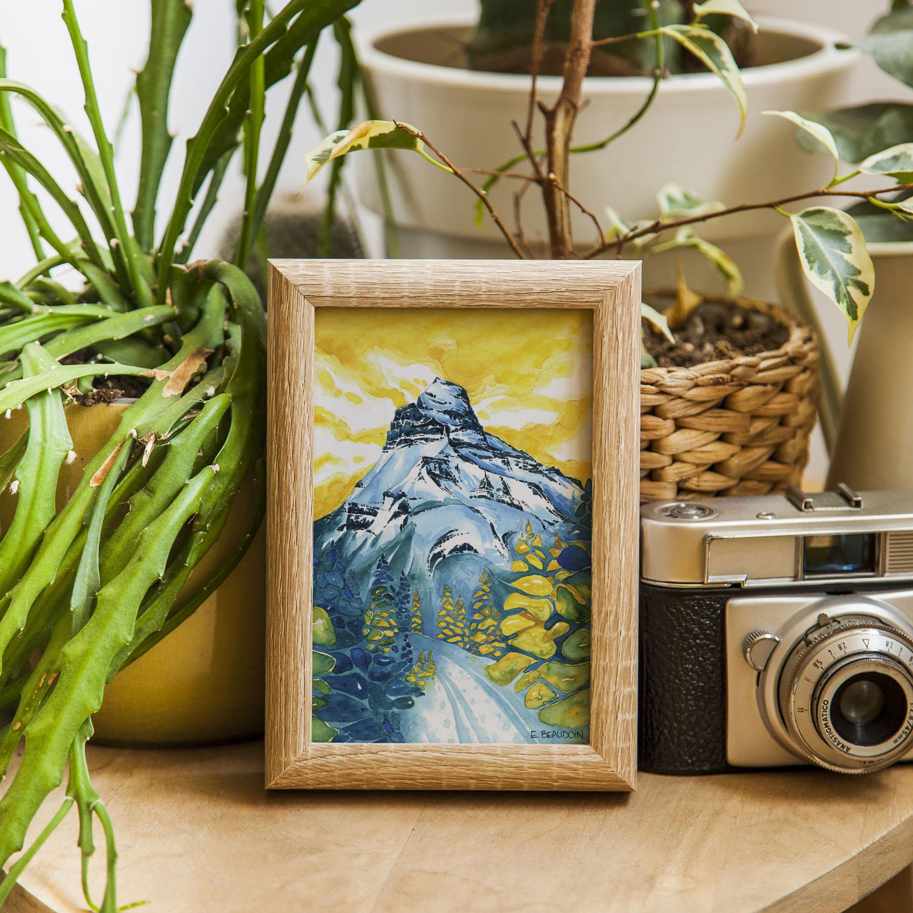 Pilot Mountain Greeting Card Framed 5x7