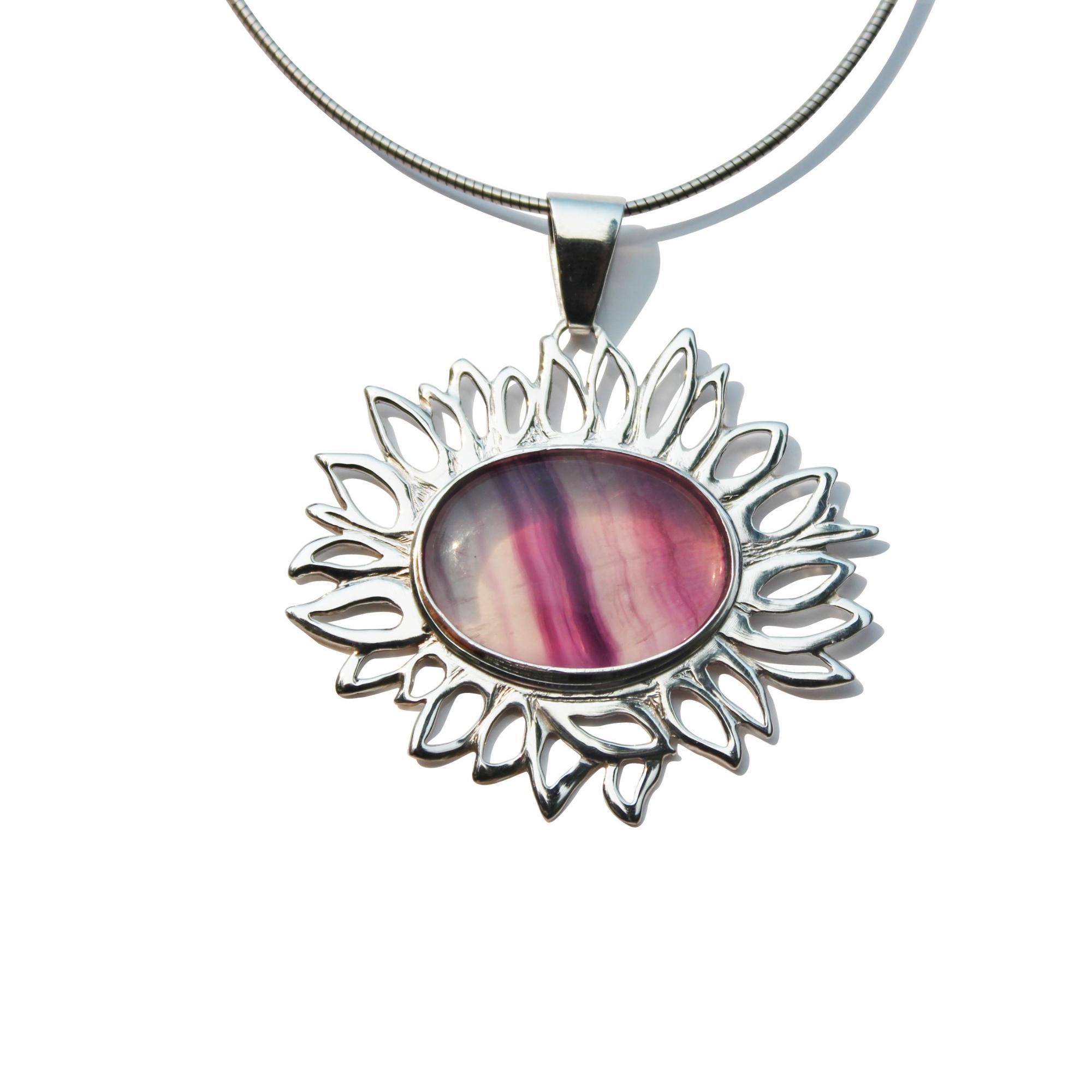 Florite sunflower gemstone necklace