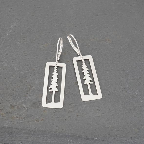 Pine Tree Earrings in Sterling Silver by Argent Whimsy Jewellery