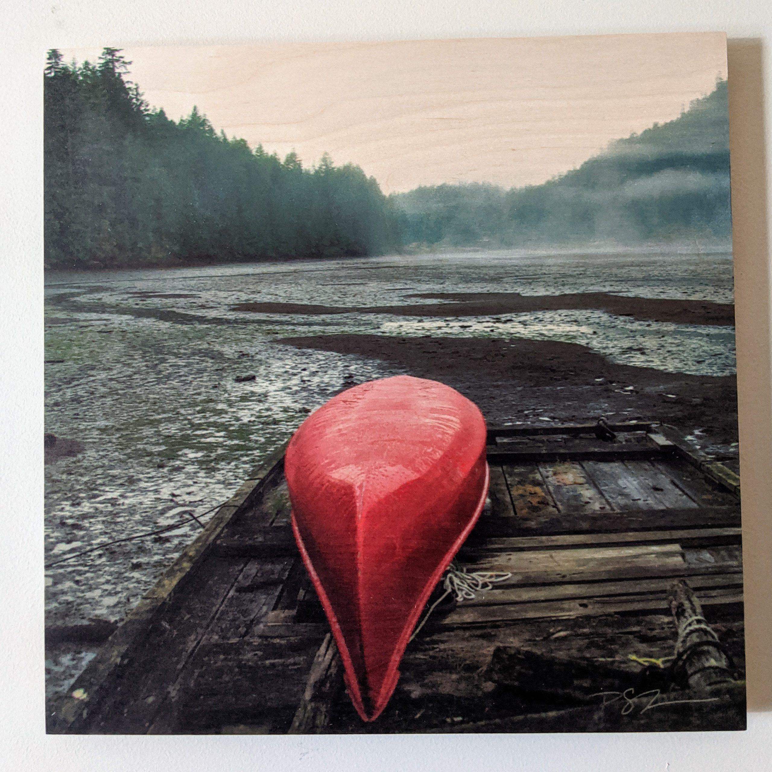 Wood Art Panel - Red Canoe