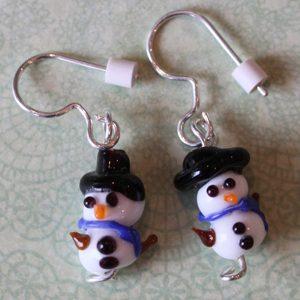 Lampwork Dangle Snowmen Earrings