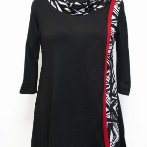 Womens tunic designed with 3 different fabrics black, red, and black and white print. It is a casual elegant relaxed fit but makes an artistic statement. Cowl neck with 3/4 sleeves and drapes below the butt.