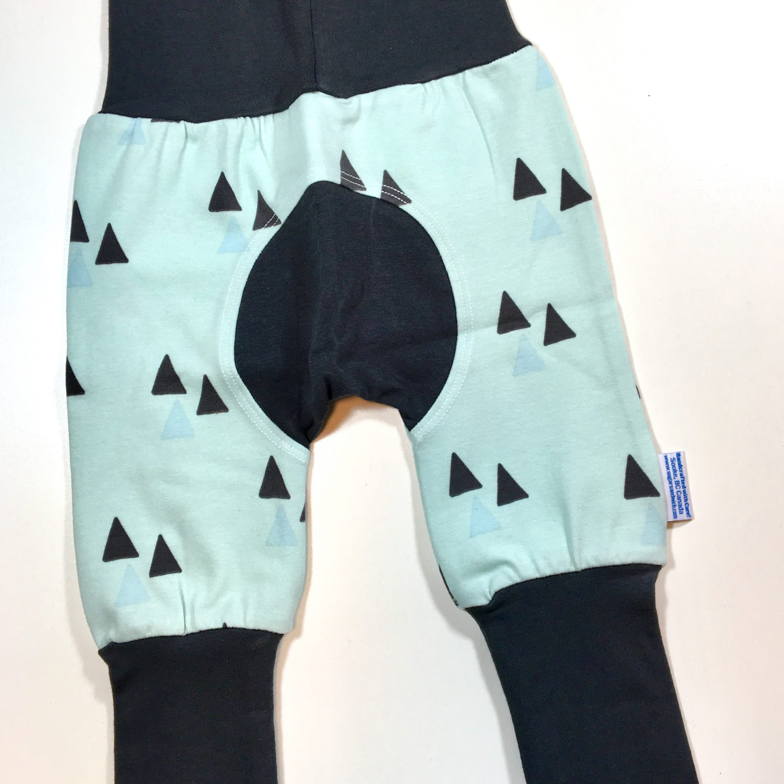 green triangles organic cotton grow along adjustable fit pants for babies and toddlers