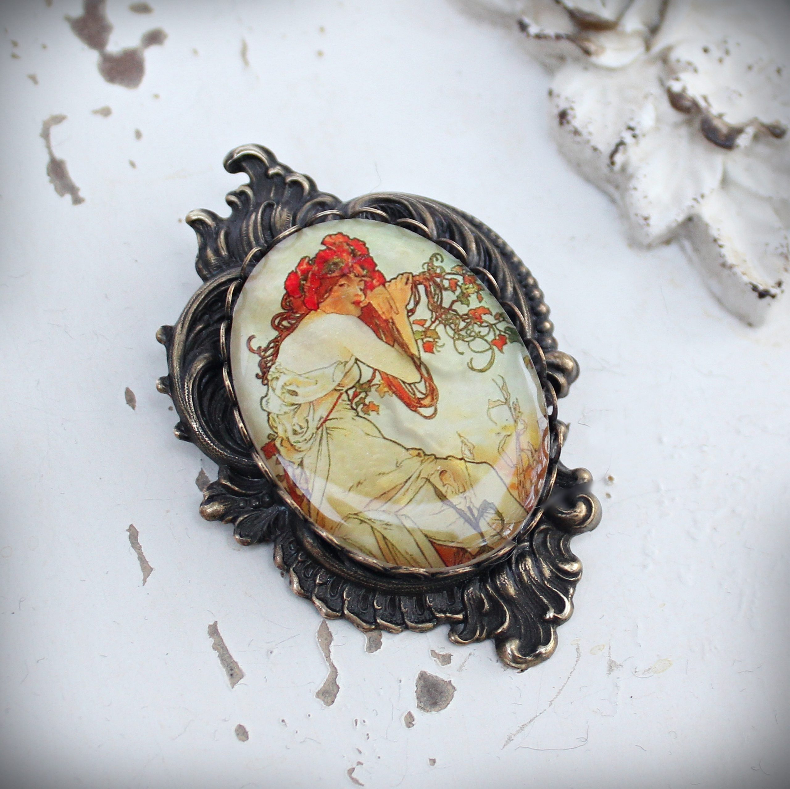 Alphonse Mucha Summer Large Mother of Pearl Brooch and Pendant