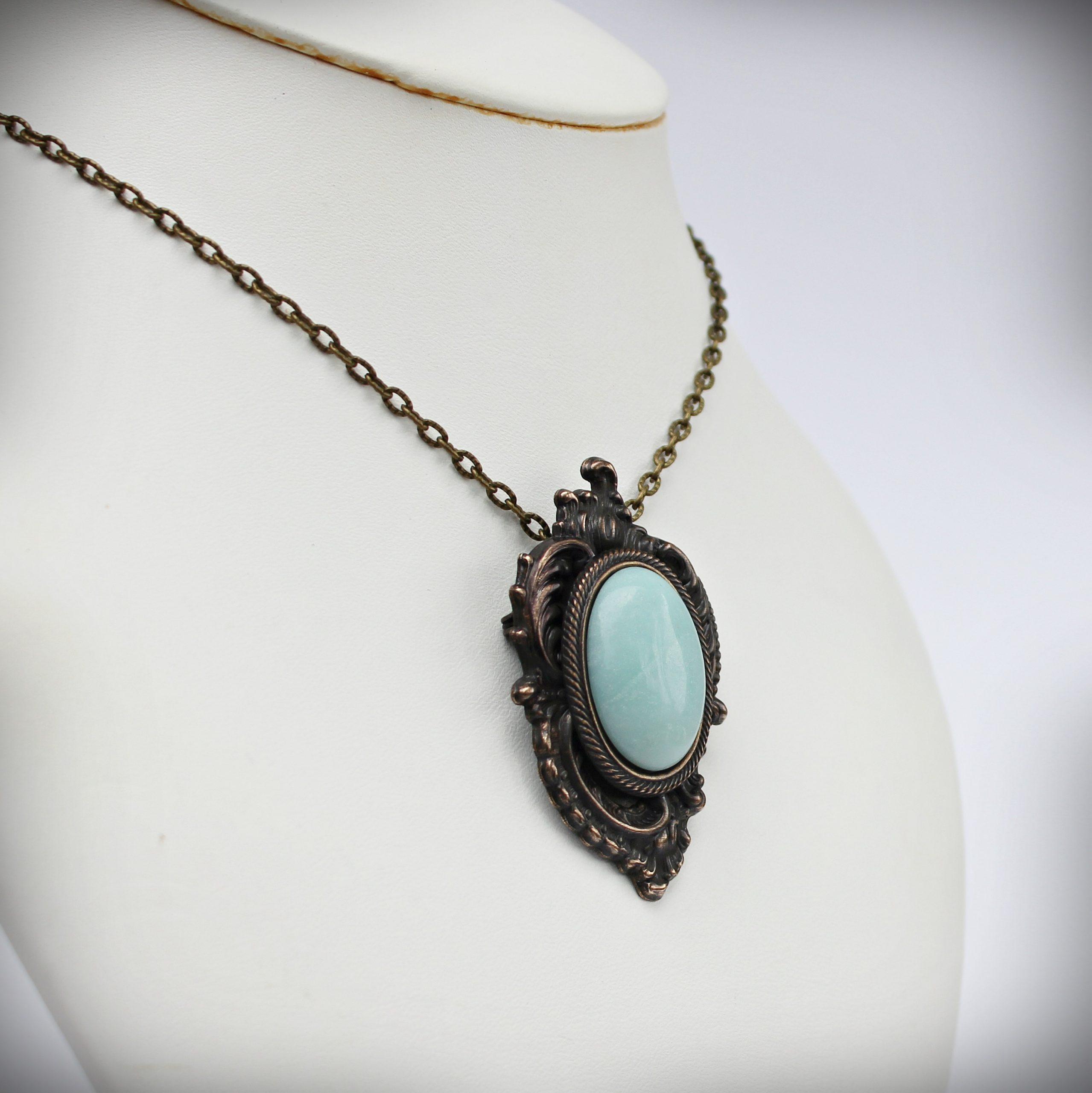 Art Nouveau Amazonite brooch pendant