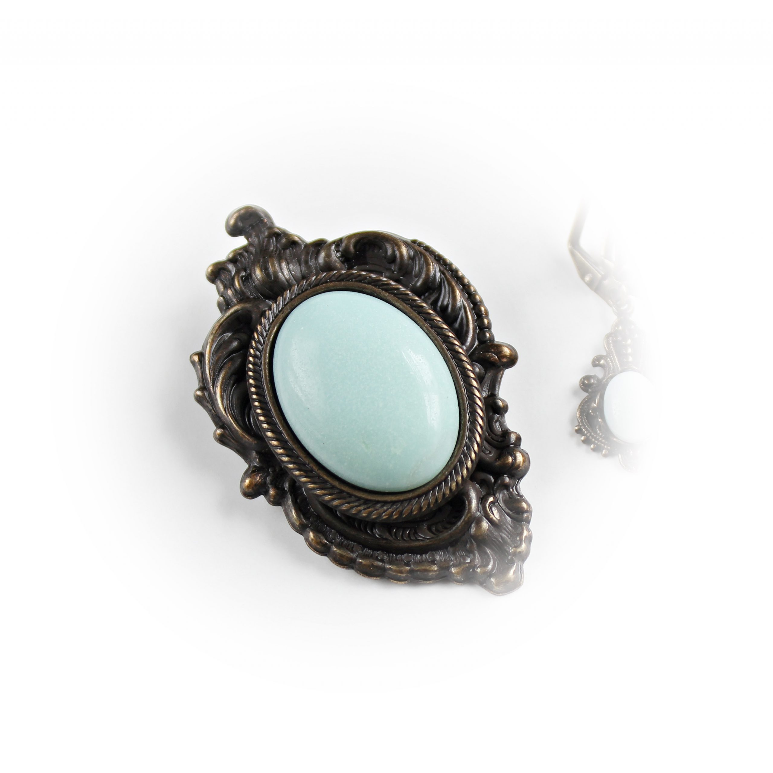 amazonite gemstone brooch necklace