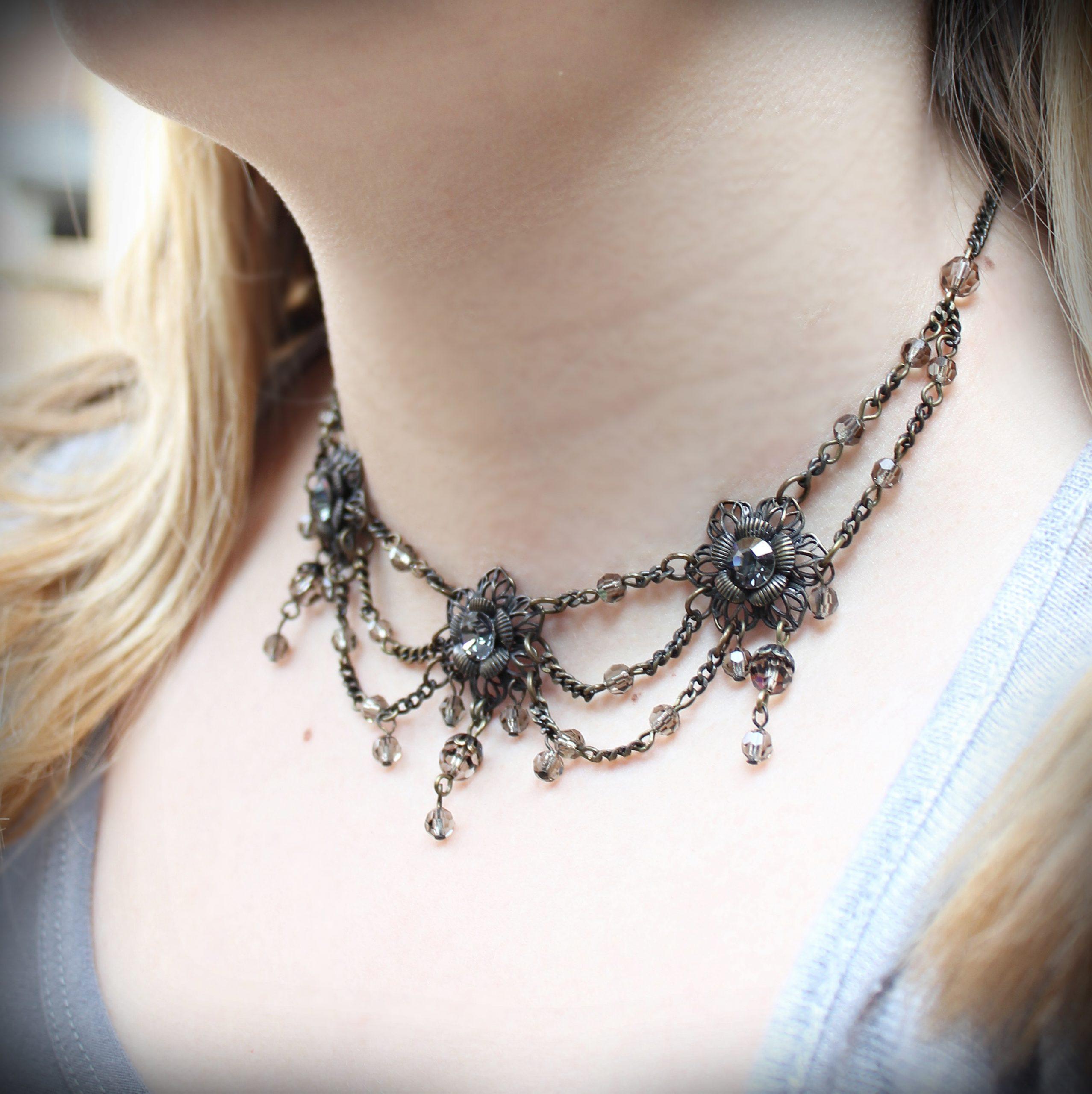 grey crystal collar necklace swarovski