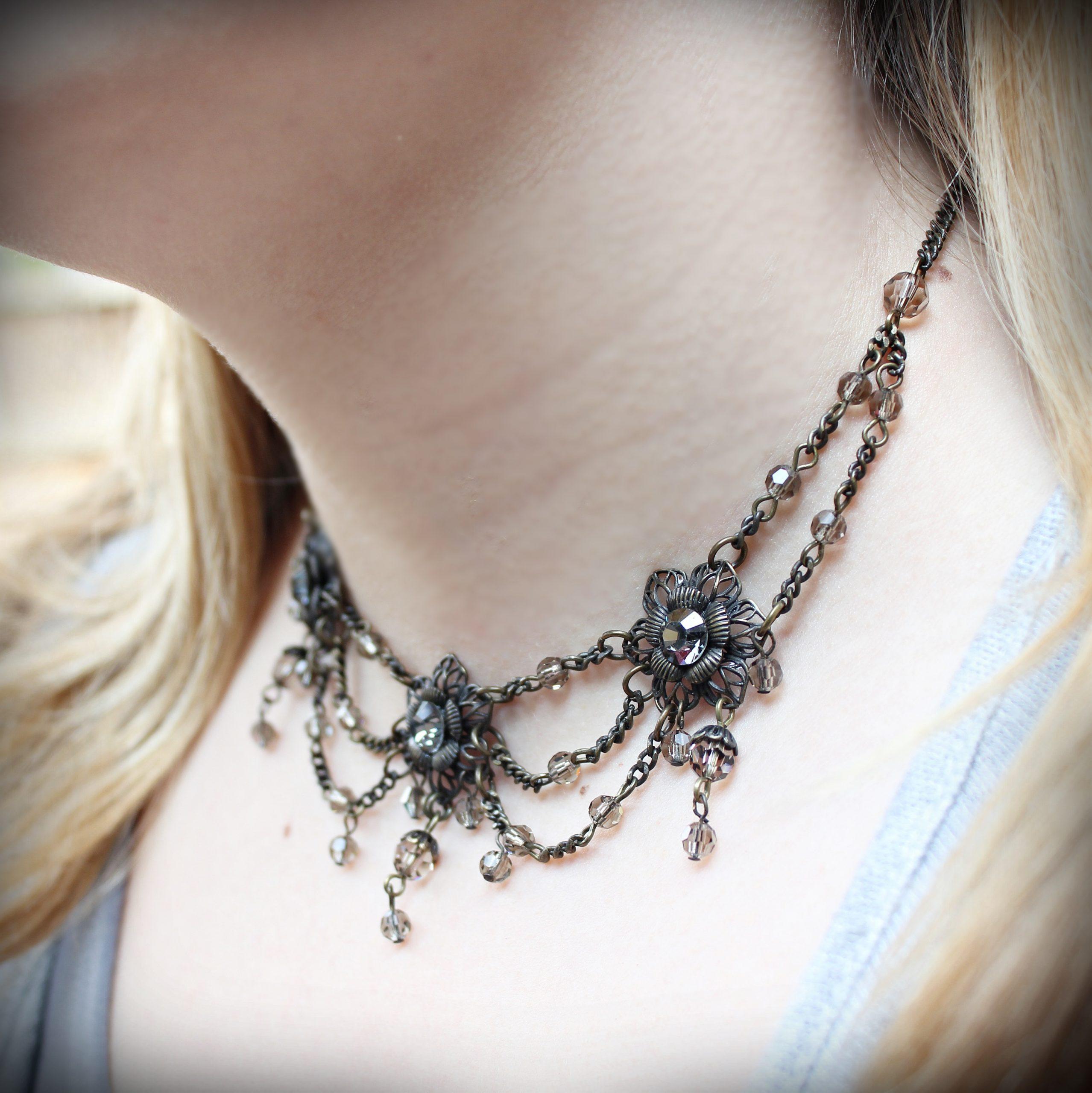 swarovski necklace collar silver night black diamond