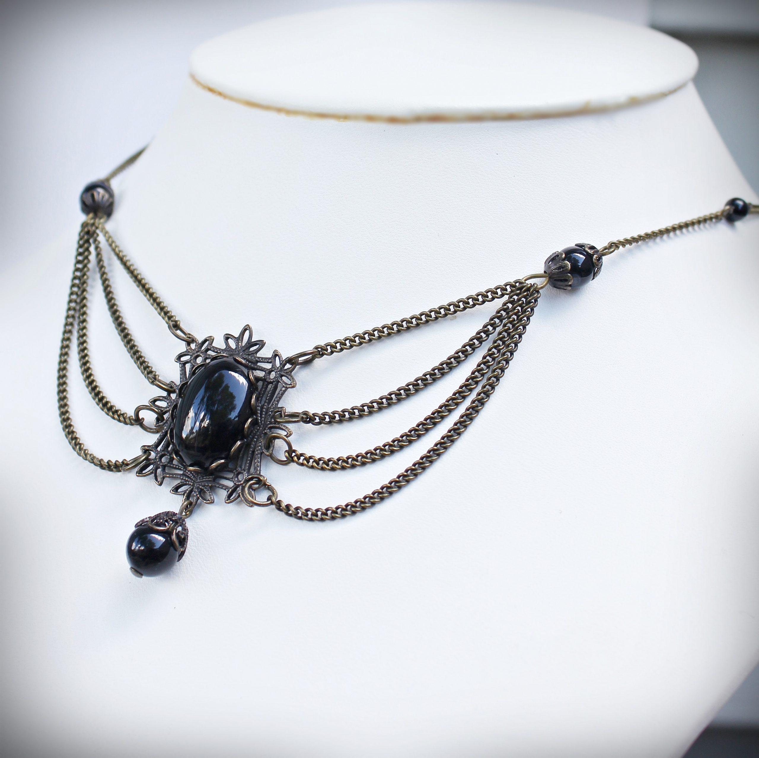 black onyx multi strand drape necklace