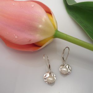 Freshwater pearl and sterling silver moon shape earrings