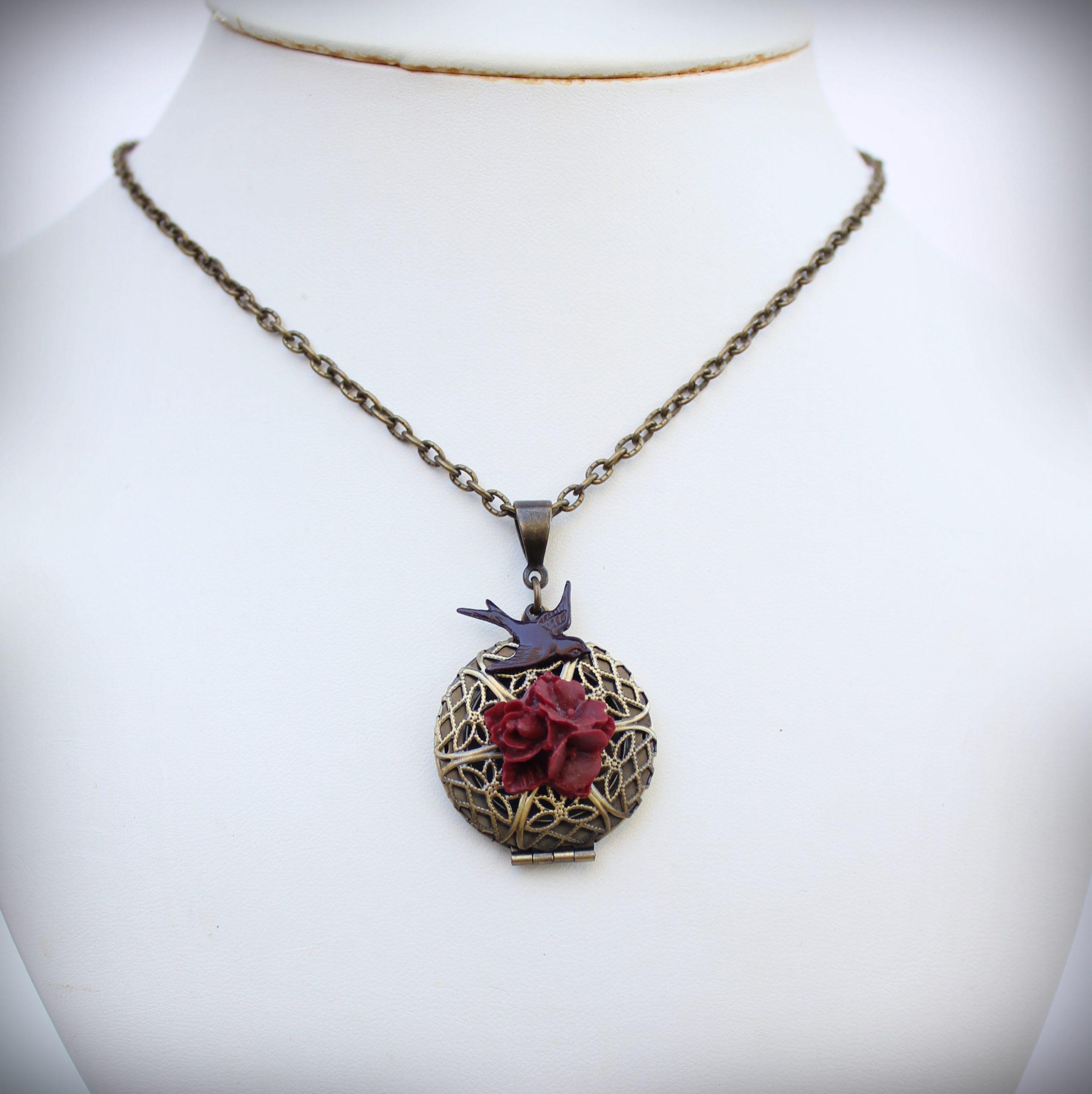 Burgundy Floral Filigree Locket Necklace